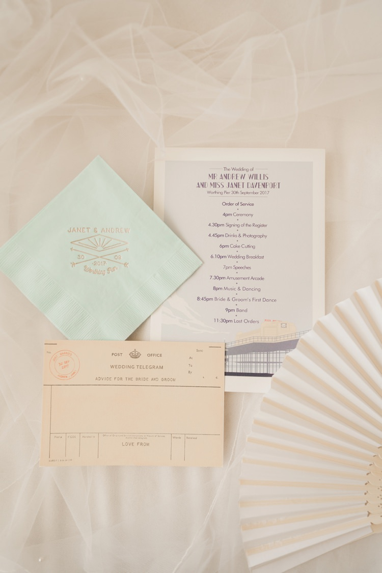 Stationery Invites Invitations Telegram Fan Vintage 1930s Wedding Worthing Pier West Sussex https://clairemacintyre.com/