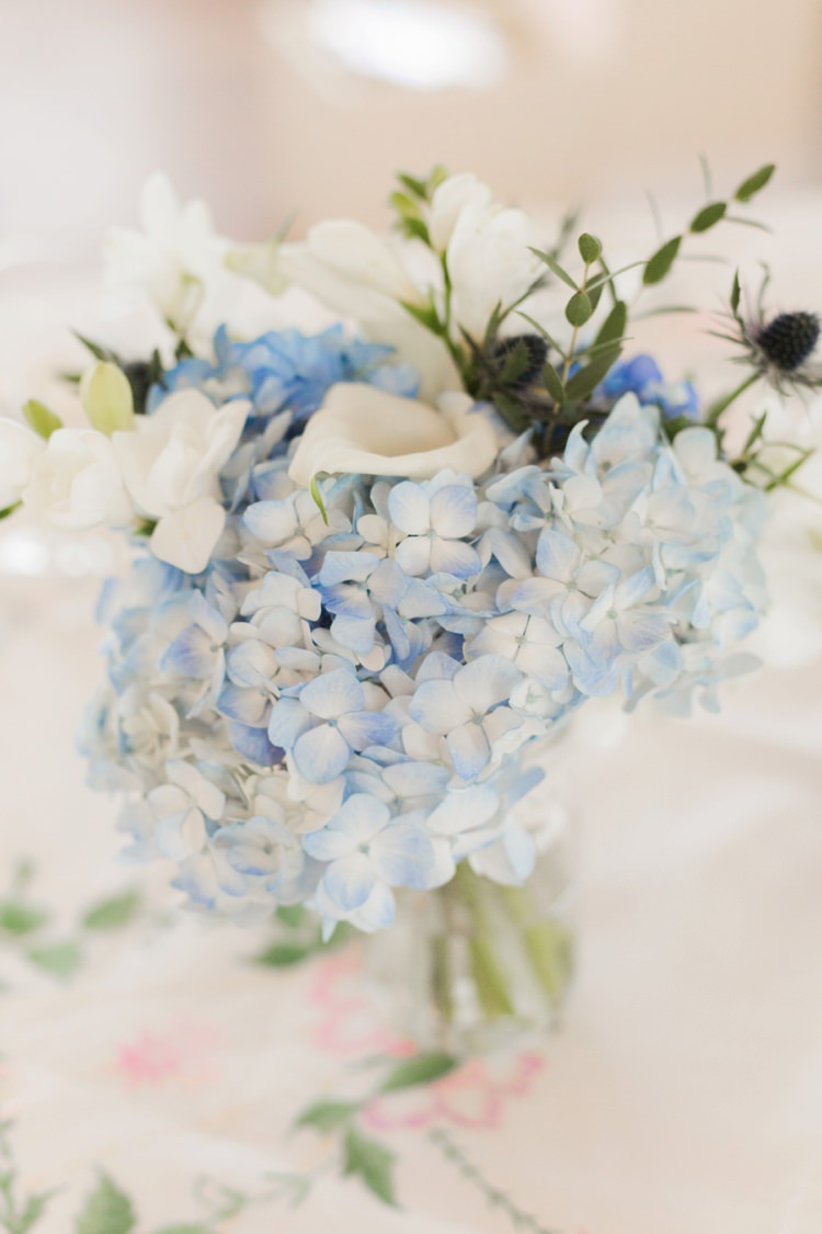 Flowers Blue White Hydrangea Jar Lace Thistle Centrepice Table Decor Vintage 1930s Wedding Worthing Pier West Sussex https://clairemacintyre.com/