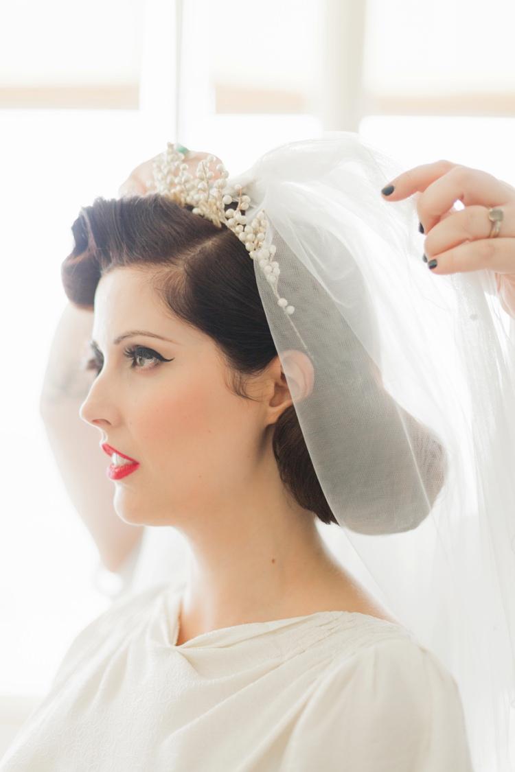 Hair Veil Tiara Bride Bridal Retro Vintage 1930s Wedding Worthing Pier West Sussex https://clairemacintyre.com/