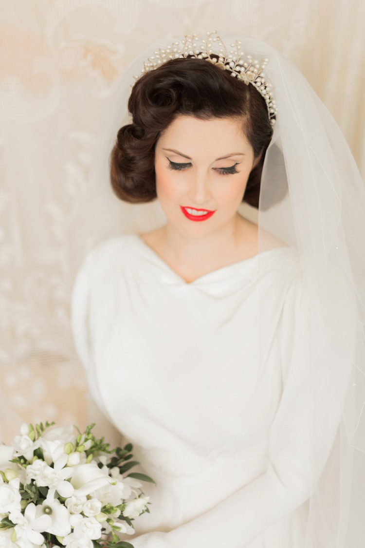 Hair Make Up Bride Bridal Retro Veil Accessory Piece Vintage 1930s Wedding Worthing Pier West Sussex https://clairemacintyre.com/