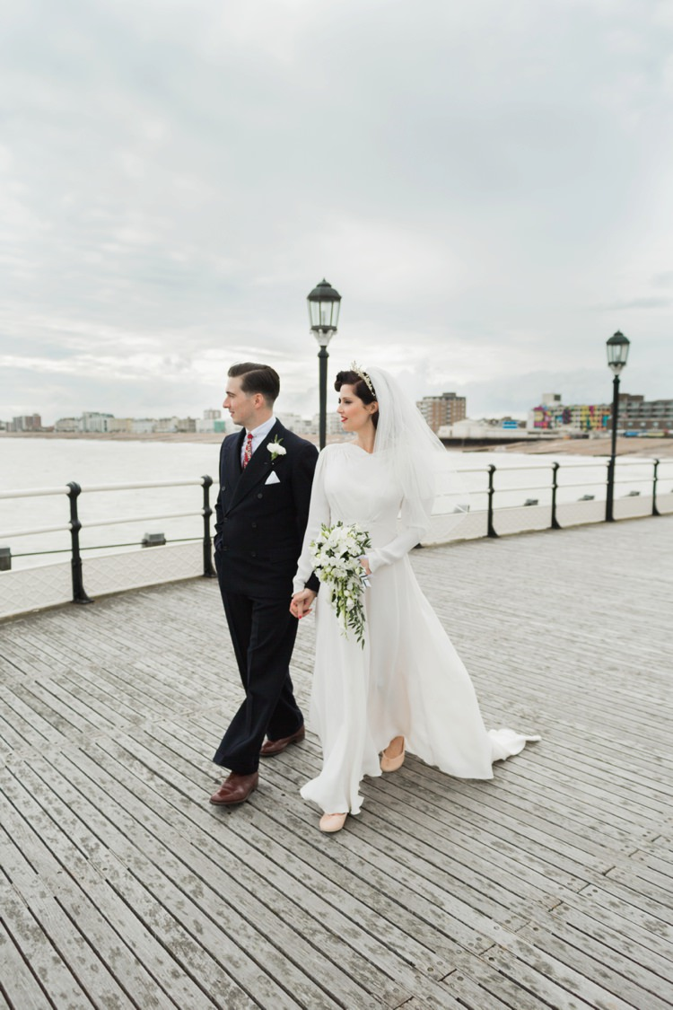 Dress Gown Bride Bridal Vintage 1930s Wedding Worthing Pier West Sussex https://clairemacintyre.com/
