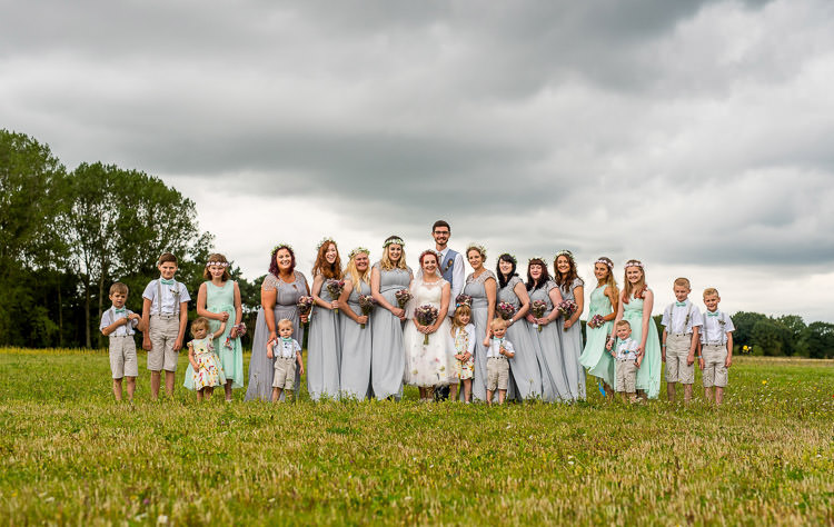 Bridesmaids Page Boys Flower Girls Bride Bridal Party Mismatched Colourful Wildflower Meadow Wedding Hush Venues Norfolk http://lighteningphotography.co.uk/
