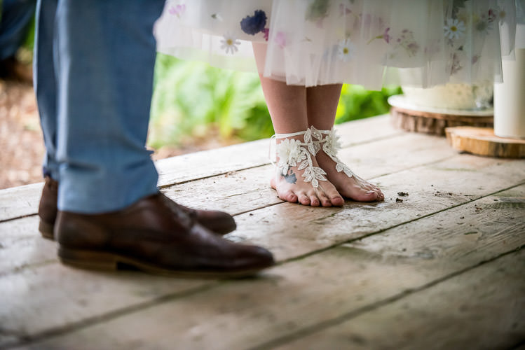 Barefoot Bride Lace Mismatched Colourful Wildflower Meadow Wedding Hush Venues Norfolk http://lighteningphotography.co.uk/