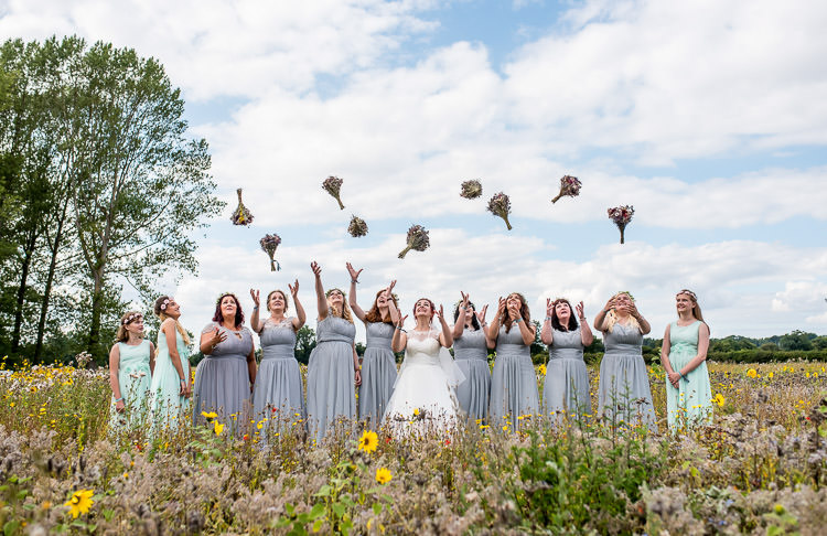 Bridesmaids Bouquets Flower Crowns Mismatched Colourful Wildflower Meadow Wedding Hush Venues Norfolk http://lighteningphotography.co.uk/