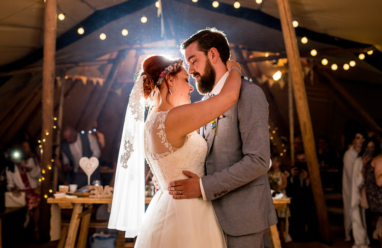 First Dance Short Lace Veil Bride Mismatched Colourful Wildflower Meadow Wedding Hush Venues Norfolk http://lighteningphotography.co.uk/