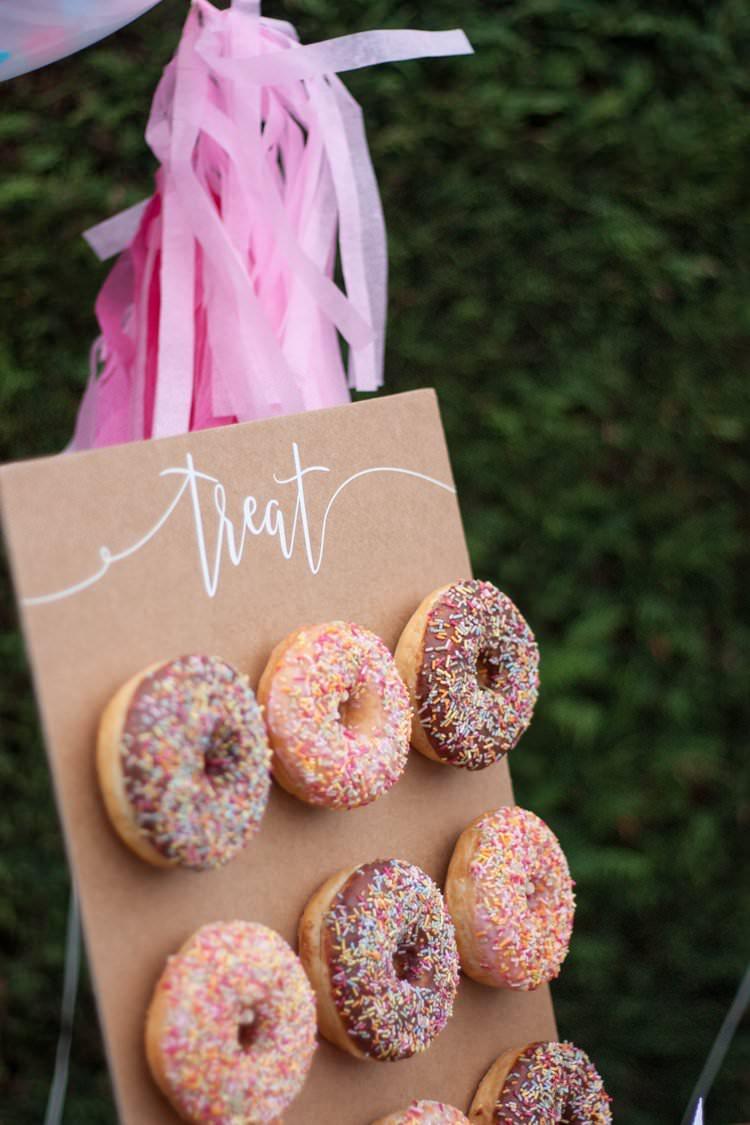 DIY Wedding Dessert Table Tutorial Cake Donut Wall