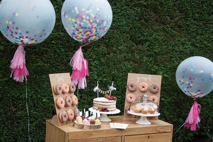 DIY Wedding Dessert Table Tutorial Cake Giant Confetti Balloons Tassels Donut Wall Naked Cake
