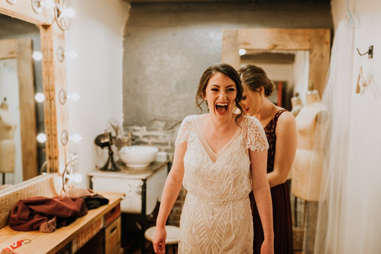 City Urban Georgia Engine Room Exposed Bricks Bride Burgundy Bridesmaids Morning Prep | Bohemian Industrial Oxblood Wedding https://www.lunaleephotos.com/