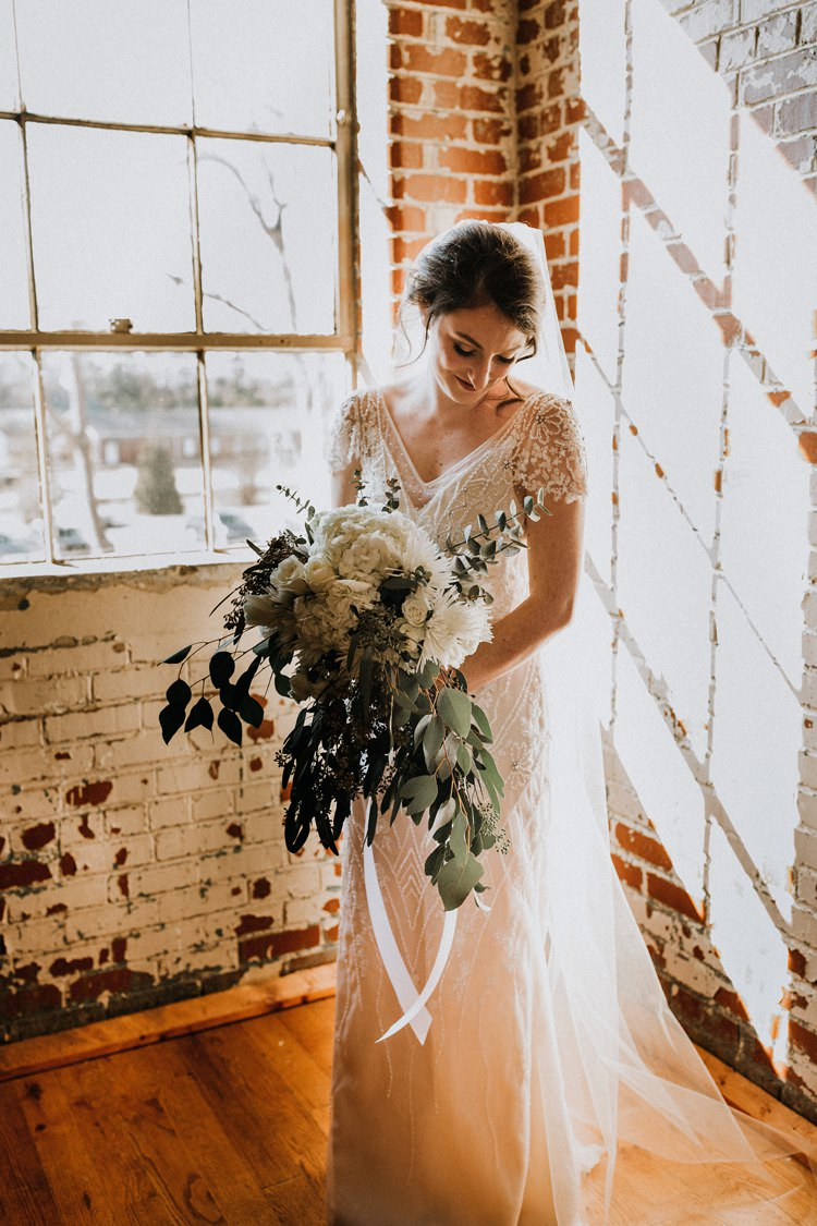 City Urban Georgia Engine Room Exposed Bricks Bride Burgundy White Foliage Bouquet | Bohemian Industrial Oxblood Wedding https://www.lunaleephotos.com/