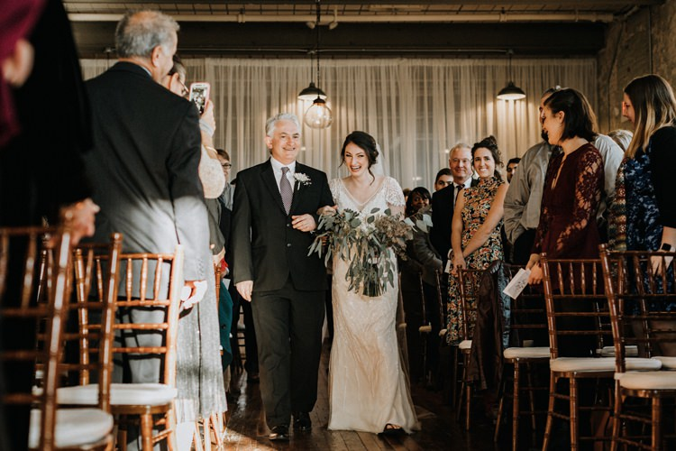 City Urban Georgia Engine Room Exposed Bricks Ceremony Aisle Bride Greenery White Bouquet | Bohemian Industrial Oxblood Wedding https://www.lunaleephotos.com/