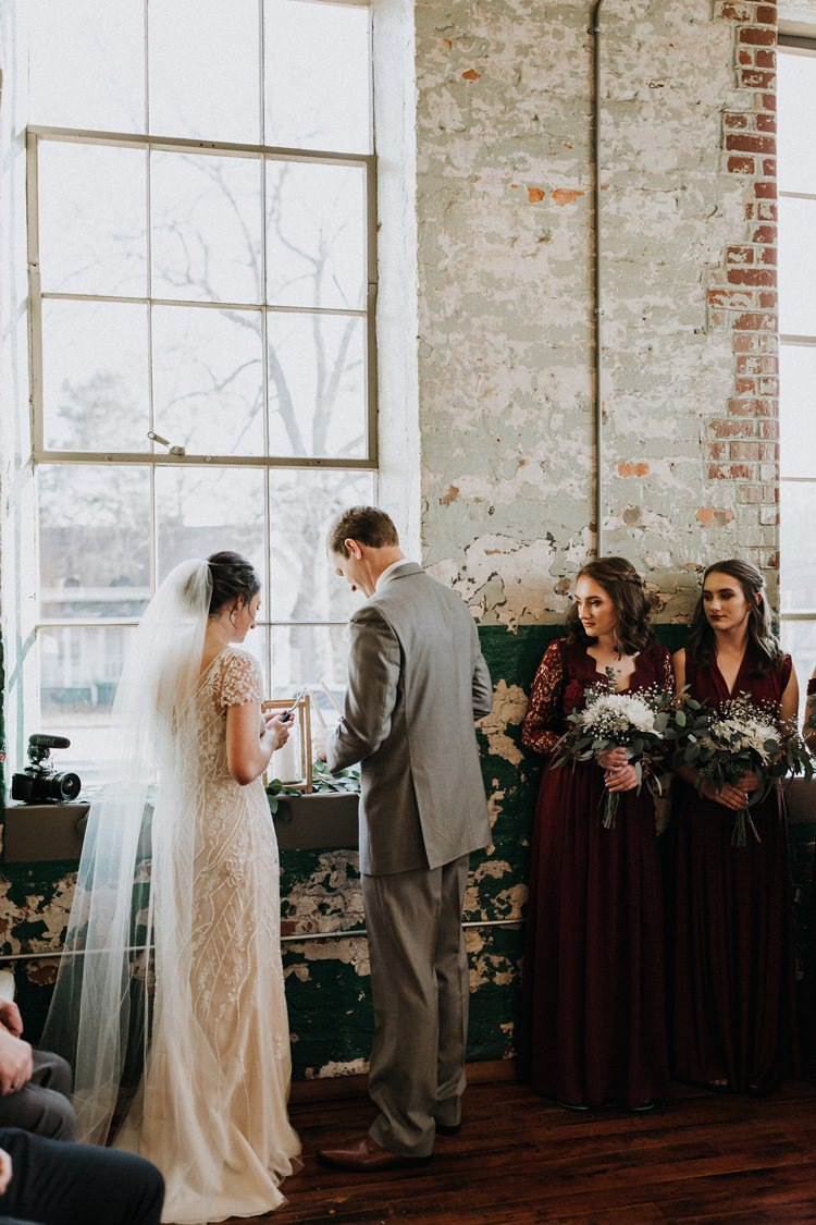 City Urban Georgia Engine Room Exposed Bricks Ceremony Aisle Bride Groom White Bouquet | Bohemian Industrial Oxblood Wedding https://www.lunaleephotos.com/