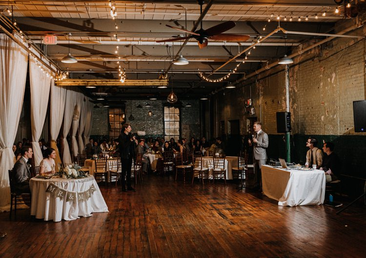 City Urban Georgia Engine Room Exposed Bricks Reception Dinner Chiavari Chairs Rustic Speeches | Bohemian Industrial Oxblood Wedding https://www.lunaleephotos.com/