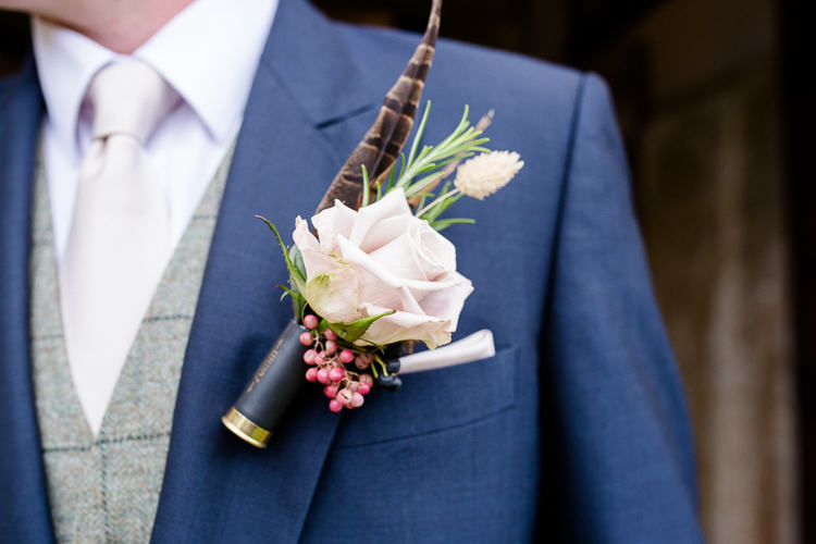 Groom Buttonhole Pheasant Feather Shot Gun Cartridge Rose Autumn Countryside Family Farm Wedding Dorset http://www.lydiastampsphotography.com/