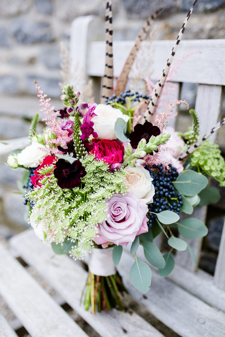 Bride Bridal Bouquet Pheasant Feather Rose Eucalyptus Multicoloured Autumn Countryside Family Farm Wedding Dorset http://www.lydiastampsphotography.com/