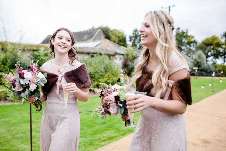 Bridesmaids Pink Blush Brown Fur Cape Bouquet Pheasant Feather Multicoloured Autumn Countryside Family Farm Wedding Dorset http://www.lydiastampsphotography.com/