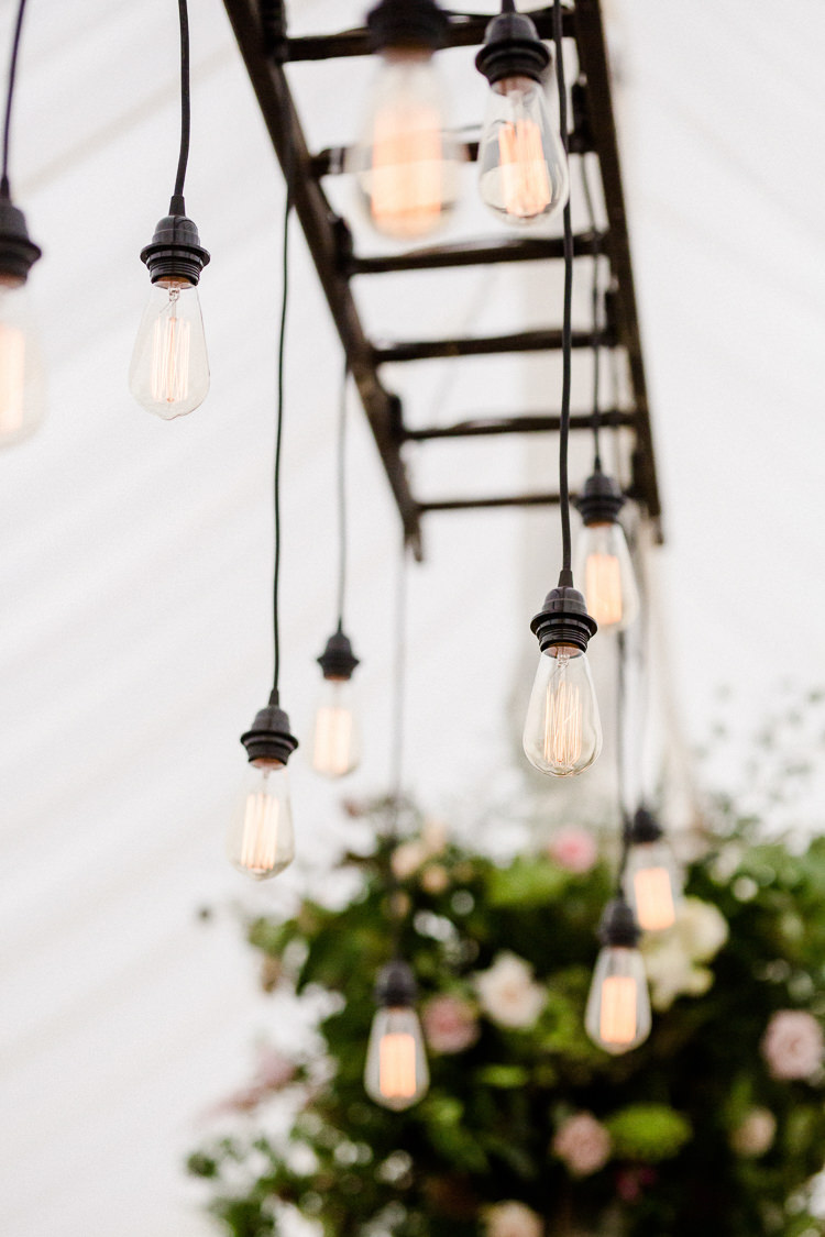 Festoon Vintage Lighting Ladder Marquee Autumn Countryside Family Farm Wedding Dorset http://www.lydiastampsphotography.com/