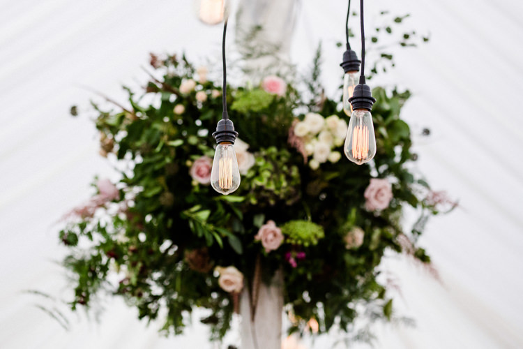 Vintage Lighting Festoon Floral Greenery Marquee Autumn Countryside Family Farm Wedding Dorset http://www.lydiastampsphotography.com/
