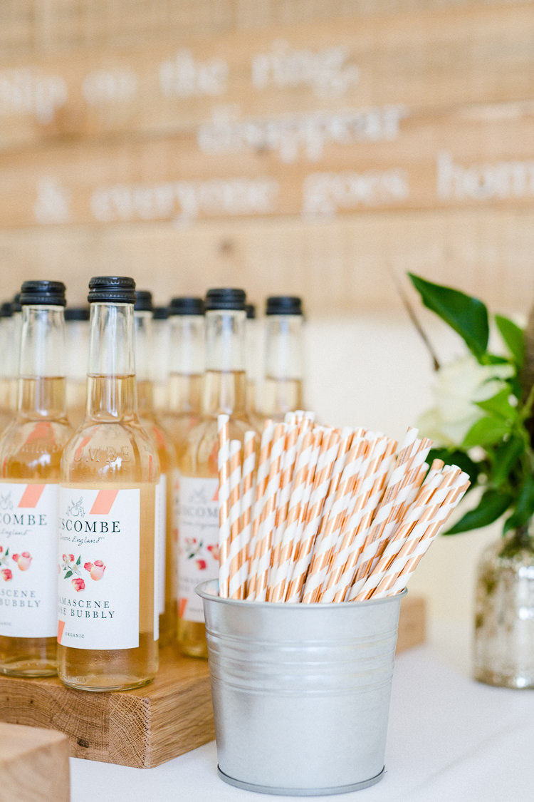 Soft Drinks Paper Straws Rose Gold Stripy Autumn Countryside Family Farm Wedding Dorset http://www.lydiastampsphotography.com/