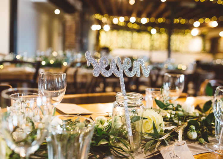 Table Number Laser Cut Glittery Sparkle Silver Greenery White Cream Roses Cool Stylish Windy Coastal Wedding East Quay Lobster Shack Whitstable http://holliecarlinphotography.com/