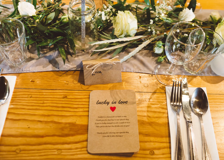 Place Setting Rustic Beige Paper Greenery White Rose Foliage Cool Stylish Windy Coastal Wedding East Quay Lobster Shack Whitstable http://holliecarlinphotography.com/