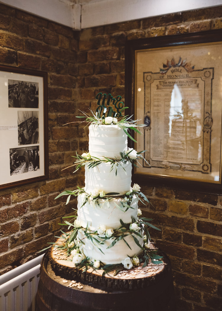 Buttercream Cake Wood Slice Four Tier Greenery Rose Laser Cut Topper Barrel Cool Stylish Windy Coastal Wedding East Quay Lobster Shack Whitstable http://holliecarlinphotography.com/