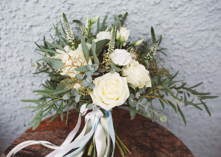Bride Bridal Bouquet Cream White Rose Greenery Ribbons Cool Stylish Windy Coastal Wedding East Quay Lobster Shack Whitstable http://holliecarlinphotography.com/