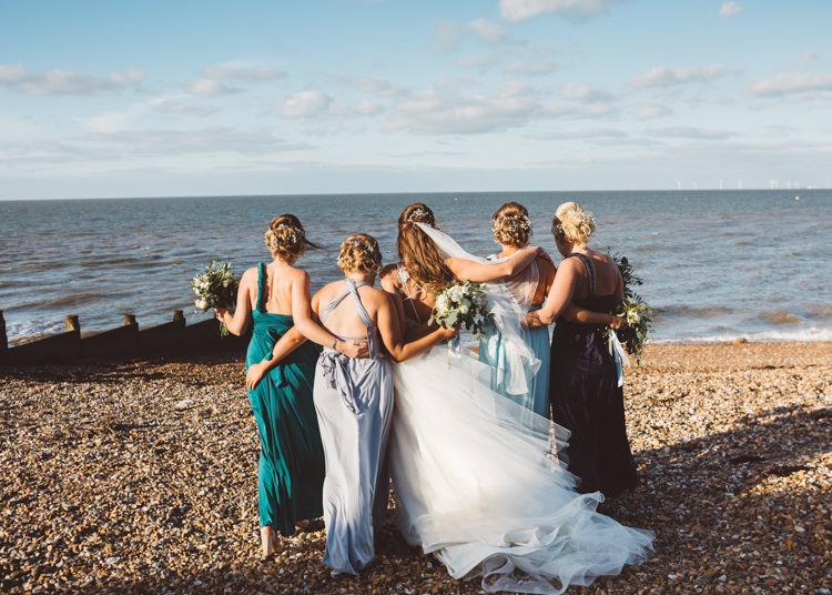 Bride Bridal Hayley Paige Dress Gown Tulle Princess Bridesmaids Green Blue Multiway Bouquet Ribbon Cool Stylish Windy Coastal Wedding East Quay Lobster Shack Whitstable http://holliecarlinphotography.com/
