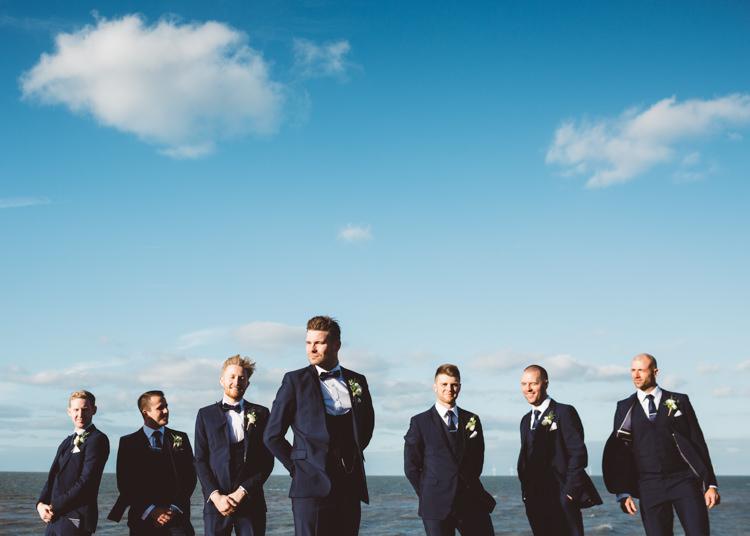 Groom Groomsmen Navy Blue Tuxedo Suit Waistcoat Bow Tie Cool Stylish Windy Coastal Wedding East Quay Lobster Shack Whitstable http://holliecarlinphotography.com/