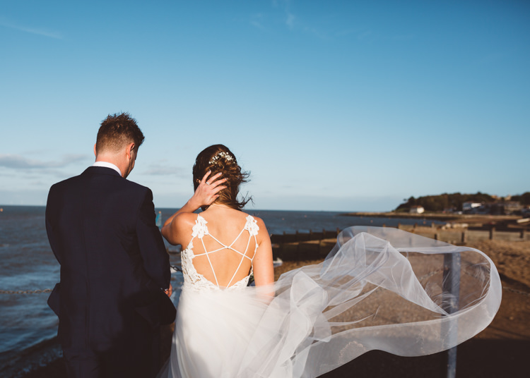 Bride Bridal Hayley Paige Dress Gown Tulle Princess Tuxedo Groom Waistcoat Navy Bow Tie Cool Stylish Windy Coastal Wedding East Quay Lobster Shack Whitstable http://holliecarlinphotography.com/