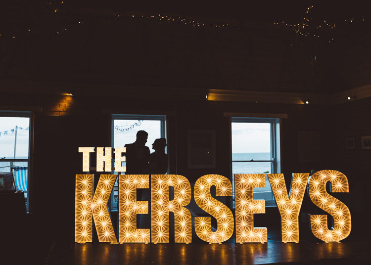 Light Up Letters Circus Cool Stylish Windy Coastal Wedding East Quay Lobster Shack Whitstable http://holliecarlinphotography.com/