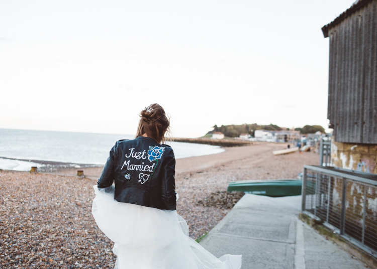 Bride Bridal Hayley Paige Dress Gown Tulle Princess Leather Jacket Just Married Hand Painted Cool Stylish Windy Coastal Wedding East Quay Lobster Shack Whitstable http://holliecarlinphotography.com/