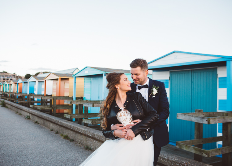 Bride Bridal Hayley Paige Dress Gown Tulle Princess Tuxedo Groom Waistcoat Navy Bow Tie Leather Jacket Beach Huts Cool Stylish Windy Coastal Wedding East Quay Lobster Shack Whitstable http://holliecarlinphotography.com/