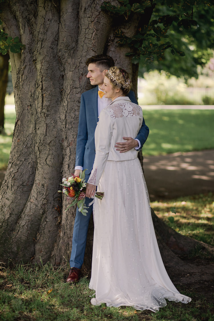Poppy Dover Overlay Dress Gown Bride Bridal Otaduy Leather Jacket Colourful Indie London City Wedding Clissold House West Reservoir Centre https://www.murrayclarke.co.uk/