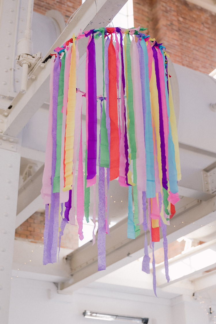 Rainbow Streamer Hoop Hanging Suspended Decor Colourful Indie London City Wedding Clissold House West Reservoir Centre https://www.murrayclarke.co.uk/