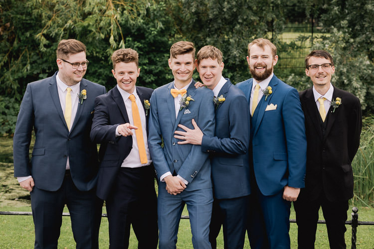 Groom Blue Suit Bow Tie Yellow Groomsman Groomsmen Colourful Indie London City Wedding Clissold House West Reservoir Centre https://www.murrayclarke.co.uk/