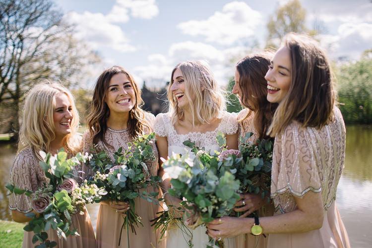 Eucalyptus Rose Bouquet Flowers Bride Bridal Bridesmaids Brass Copper Music Filled Barn Wedding East Riddlesden Hall Yorkshire https://www.joestenson.co.uk/