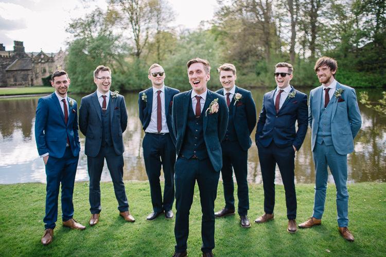 Groom Navy Suit Groomsmen Groomsman Best Man Brass Copper Music Filled Barn Wedding East Riddlesden Hall Yorkshire https://www.joestenson.co.uk/