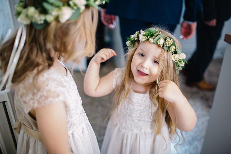 Flower Girls Crowns Dresses Brass Copper Music Filled Barn Wedding East Riddlesden Hall Yorkshire https://www.joestenson.co.uk/