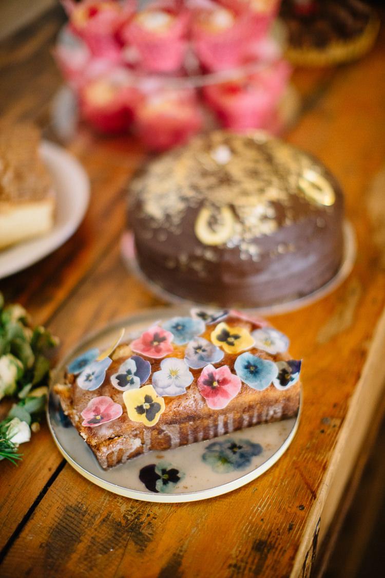 Cake Bake Off Table Brass Copper Music Filled Barn Wedding East Riddlesden Hall Yorkshire https://www.joestenson.co.uk/