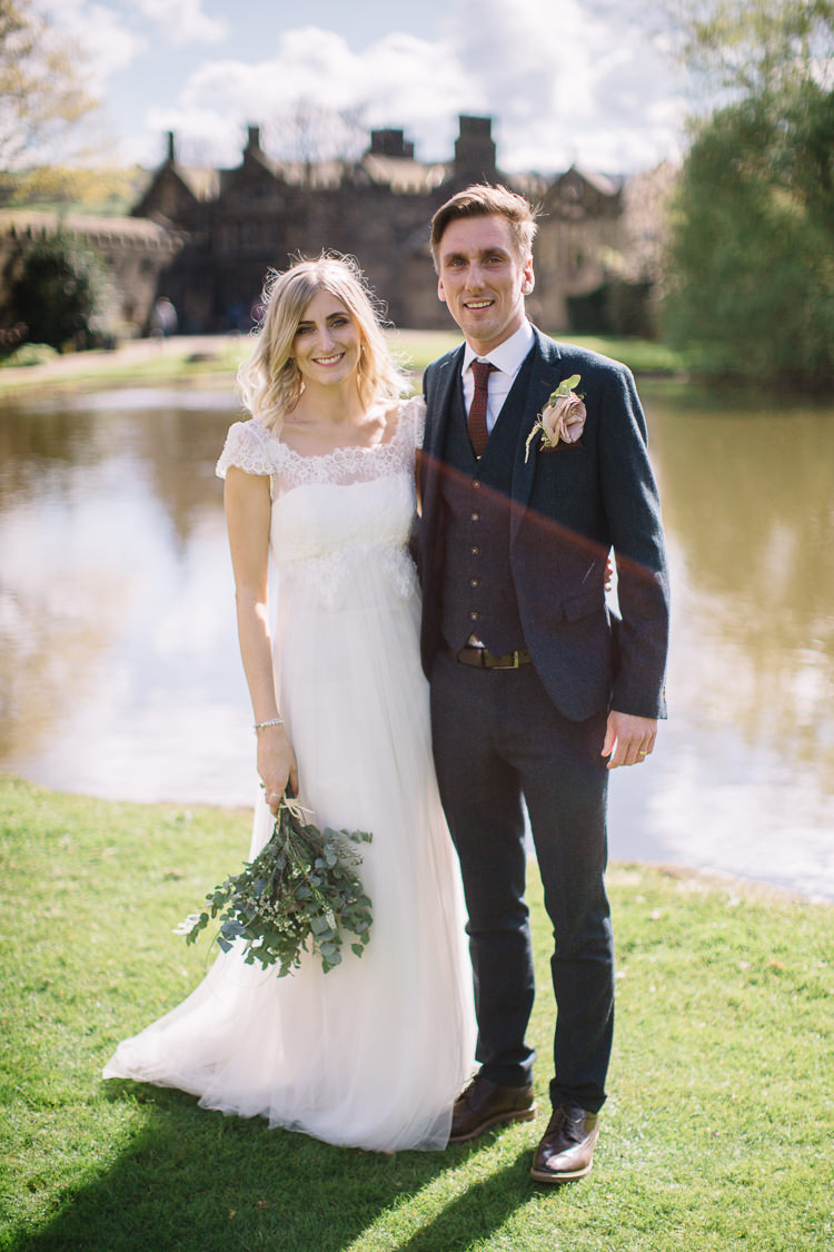 Groom Navy Suit Tan Shoes Red Tie Brass Copper Music Filled Barn Wedding East Riddlesden Hall Yorkshire https://www.joestenson.co.uk/