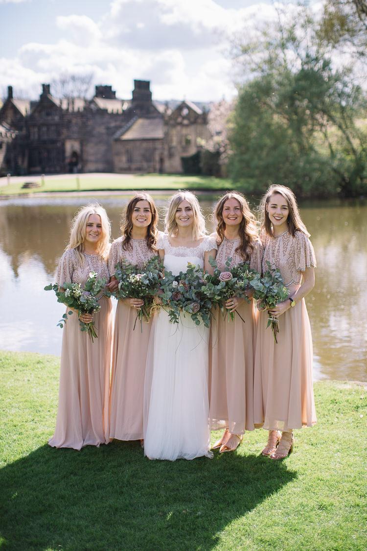 Long Short Blush Pink Sequin Bridesmaid Dresses Sleeves Brass Copper Music Filled Barn Wedding East Riddlesden Hall Yorkshire https://www.joestenson.co.uk/