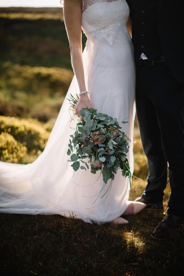 Tulle Dress Gown Train Eucalyptus Rose Bouquet Flowers Bride Bridal Brass Copper Music Filled Barn Wedding East Riddlesden Hall Yorkshire https://www.joestenson.co.uk/