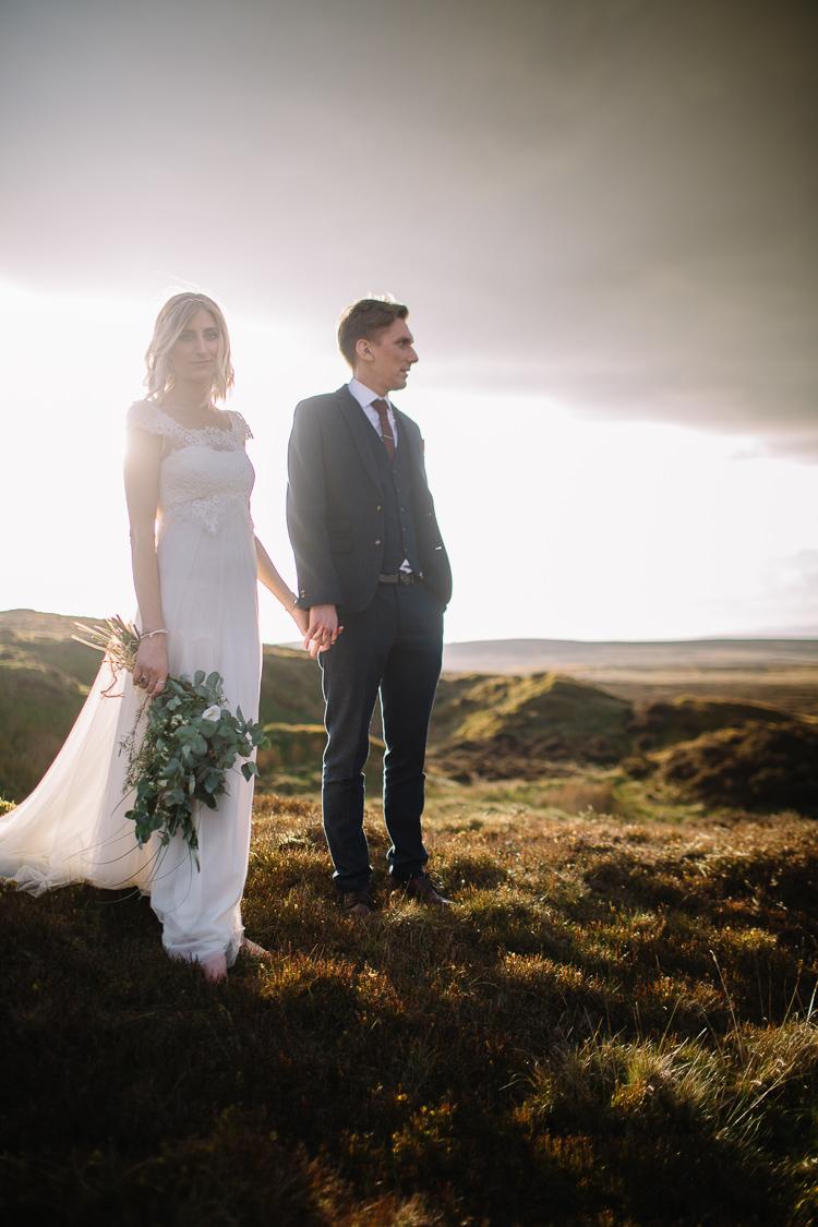 Lace Tulle Dress Gown Sleeves Bride Bridal Raimon Bundo Train Brass Copper Music Filled Barn Wedding East Riddlesden Hall Yorkshire https://www.joestenson.co.uk/