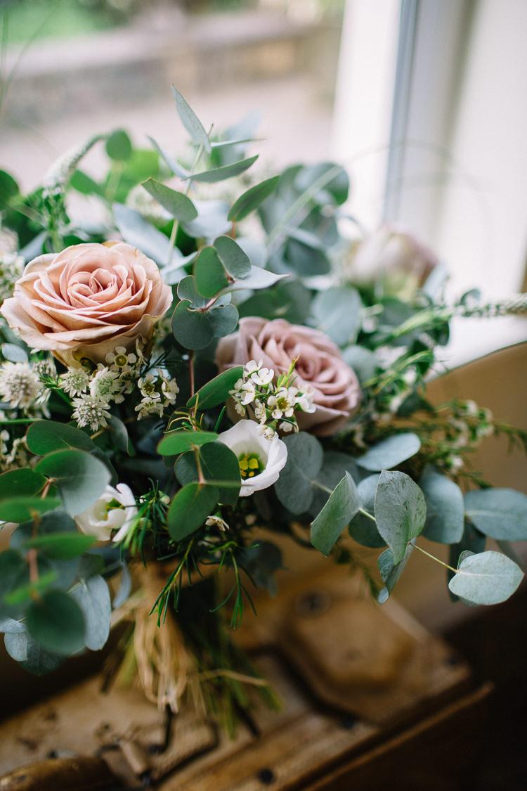 Eucalyptus Rose Bouquet Flowers Bride Bridal Brass Copper Music Filled Barn Wedding East Riddlesden Hall Yorkshire https://www.joestenson.co.uk/