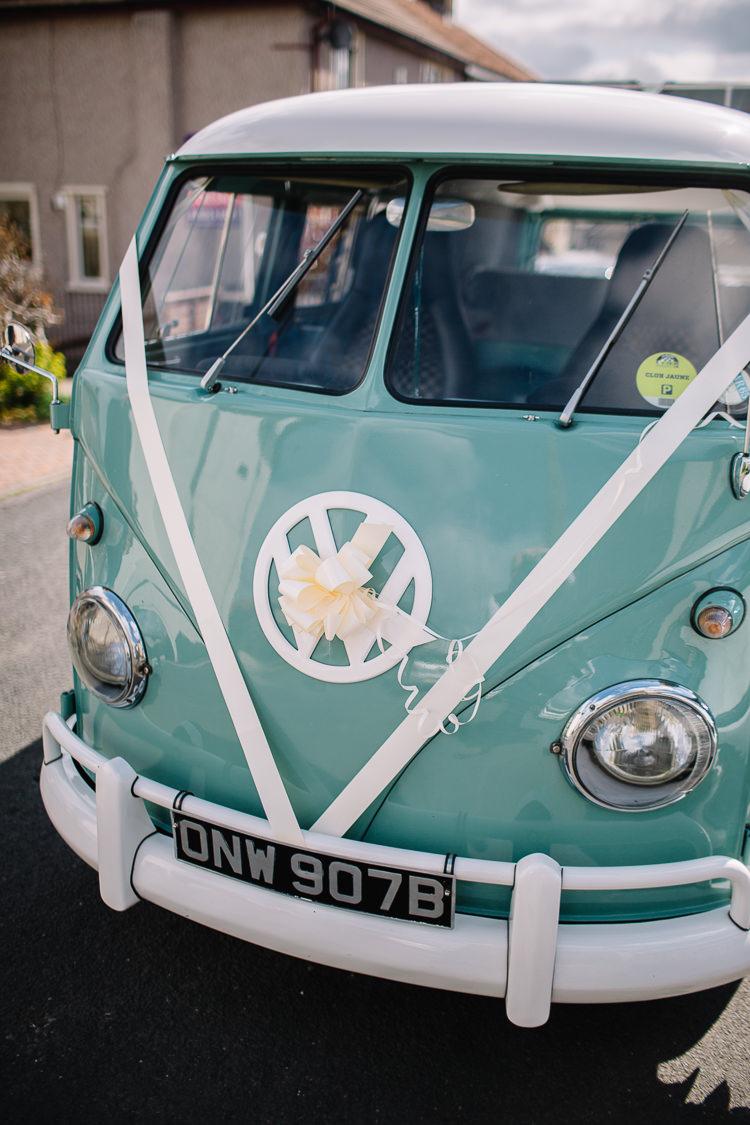 VW Campervan Car Transport Brass Copper Music Filled Barn Wedding East Riddlesden Hall Yorkshire https://www.joestenson.co.uk/