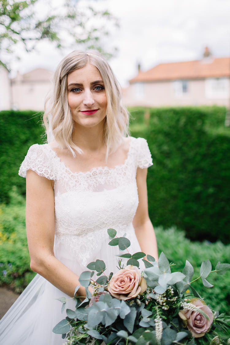 Hair Make Up Bride Bridal Beauty Short Style Waves Brass Copper Music Filled Barn Wedding East Riddlesden Hall Yorkshire https://www.joestenson.co.uk/