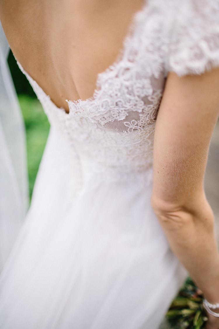 Lace Tulle Dress Gown Sleeves Bride Bridal Raimon Bundo Brass Copper Music Filled Barn Wedding East Riddlesden Hall Yorkshire https://www.joestenson.co.uk/