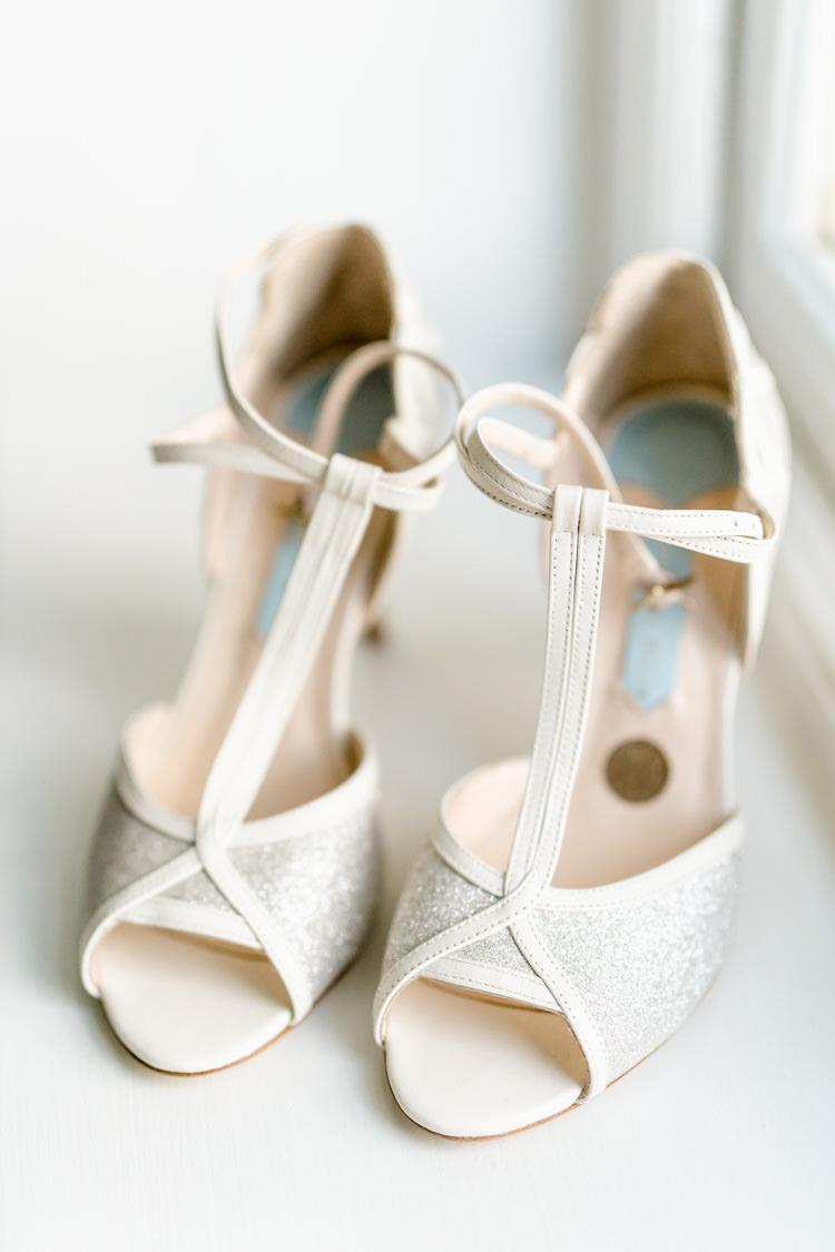Bride Bridal Shoes T Bar Sixpence Charlotte Mills Nostalgic Honest British Loseley Park Wedding Surrey https://www.johnbarwoodphotography.co.uk/