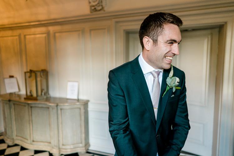 Groom Bottle Green Suit Reiss Nostalgic Honest British Loseley Park Wedding Surrey https://www.johnbarwoodphotography.co.uk/