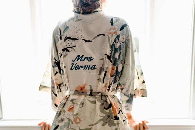 Bespoke Personalised Dressing Gown Silk Bride Bridal Getting Ready Nostalgic Honest British Loseley Park Wedding Surrey https://www.johnbarwoodphotography.co.uk/